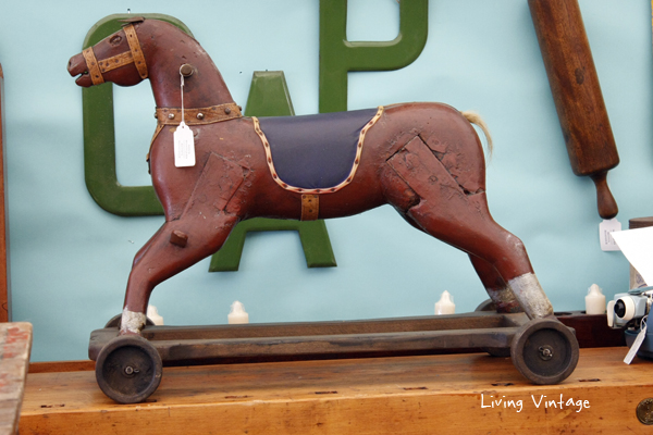 I admired this antique horse pull toy in Tobacco Road Primitives' booth.