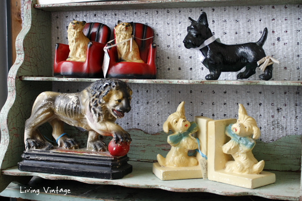 I spotted animal figurines and bookends in Two Sisters booth.