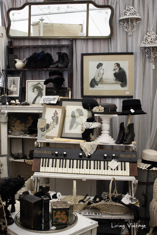 antique black and white Victoria collectibles in Two Sisters Antiques booth