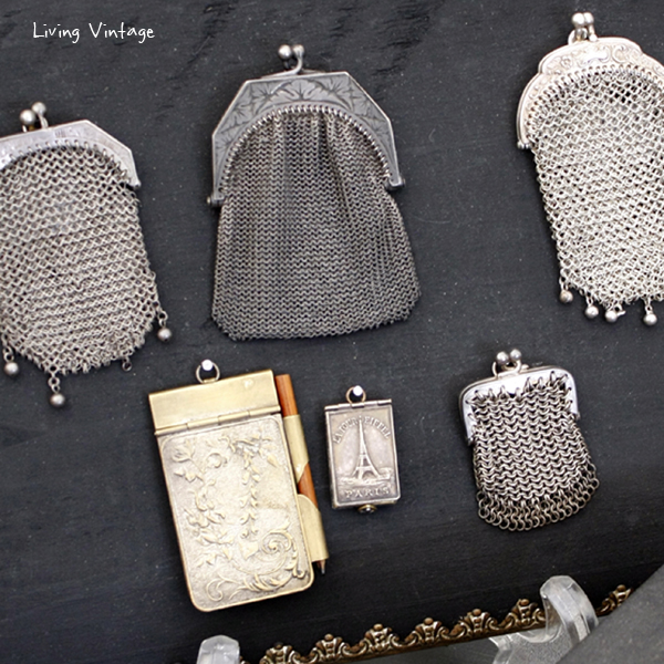 (cropped) a collection of Victorian mesh purses in Two Sisters Antiques booth
