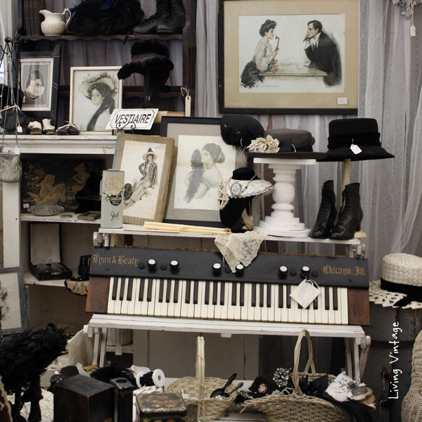 (cropped) antique black and white Victoria collectibles in Two Sisters Antiques booth