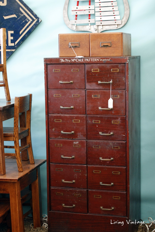 this vintage mult-drawer cabinet would be such fun storage - discovered in Tobacco Road Primitives booth