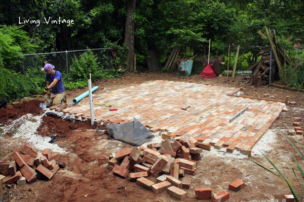 almost done with laying brick for Jenny's shed
