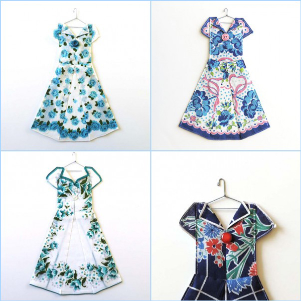 adorable miniature dresses handmade with vintage hankies and buttons - one of 8 picks for this week's Friday Favorites