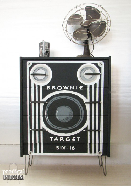 a fabulous dresser painted to look like an old Brownie camera - one of 8 picks for this week's Friday Favorites