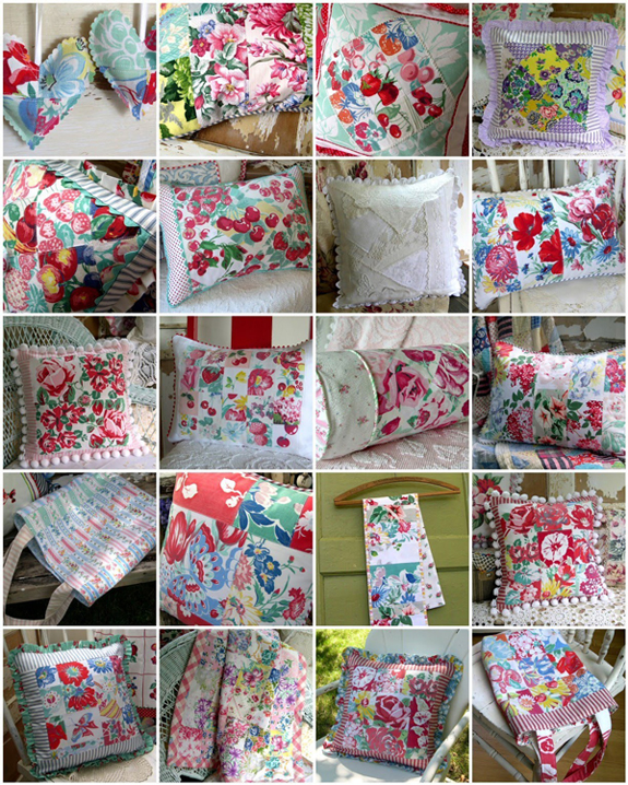an impressive mosaic of really pretty patchwork pillows, all made with vintage fabrics! - one of 8 picks for this week's Friday Favorites