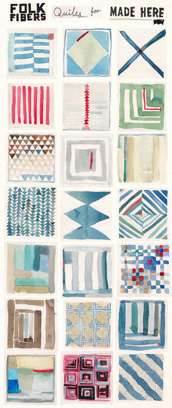fabulous quilt illustrations in watercolor - one of 8 picks for this week's Friday Favorites