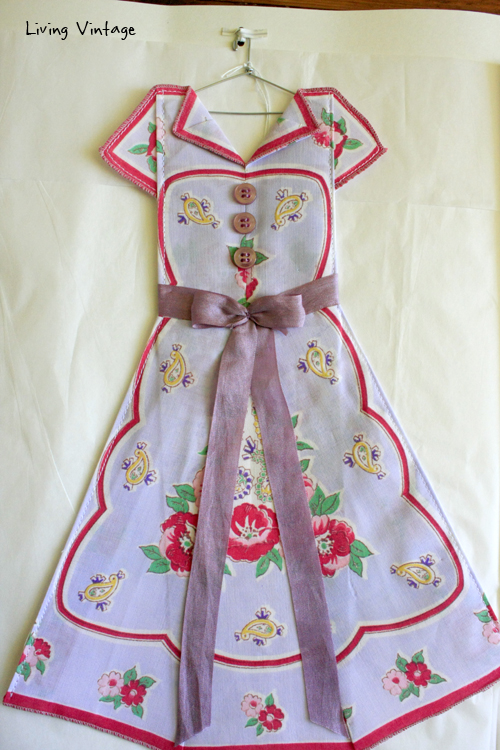 an adorable miniature dress made with a vintage hanky! --- Living Vintage