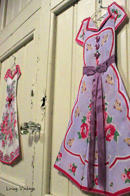 adorable miniature dresses made with vintage hankies! --- Living Vintage