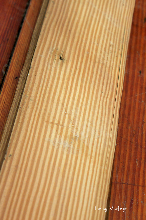 the straight grain of 380 square feet of quarter-sawn longleaf pine flooring we have for sale!