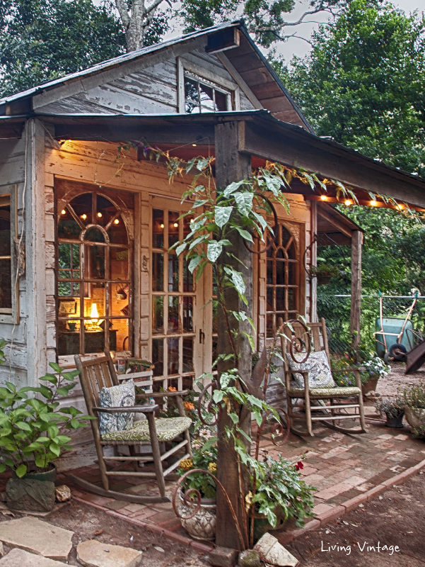 Jenny 39 s garden shed revealed living vintage for Backyard cottage shed