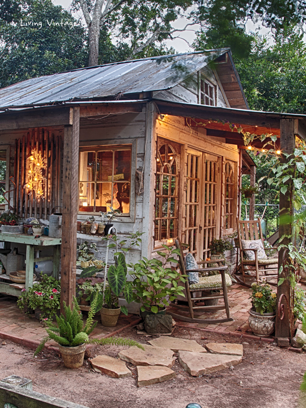 Jennys garden shed revealed living vintage jennys adorable potting shed made with reclaimed building materials living vintage workwithnaturefo