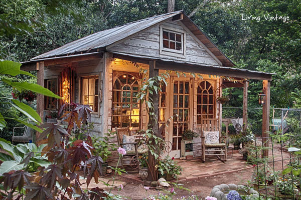 jennys she shed made with reclaimed building materials living vintage - Garden Sheds With Windows