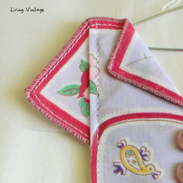 the incredible intricate detail of an adorable miniature dress made with a vintage hanky! --- Living Vintage