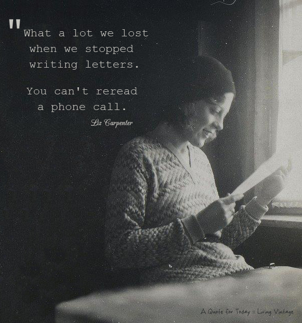 A quote for today regarding letters 1
