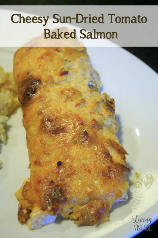 Cheesy Sun-Dried Tomato Baked Salmon - you'll love the dip AND the salmon recipe