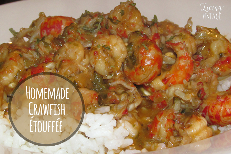 Homemade Crawfish Etouffee - See the recipe at Living Vintage