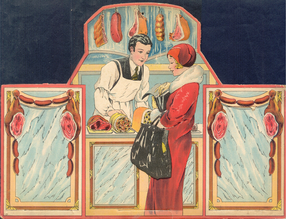 a really fun vintage illustration of a lady shopping at a butcher shop -- one of 8 picks for this week's Friday Favorites