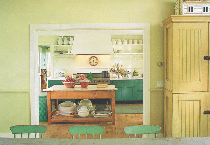 a wide open doorway provides flow to the dining room but still keeps the kitchen separate (See more photos of this One Cool House @ Living Vintage)