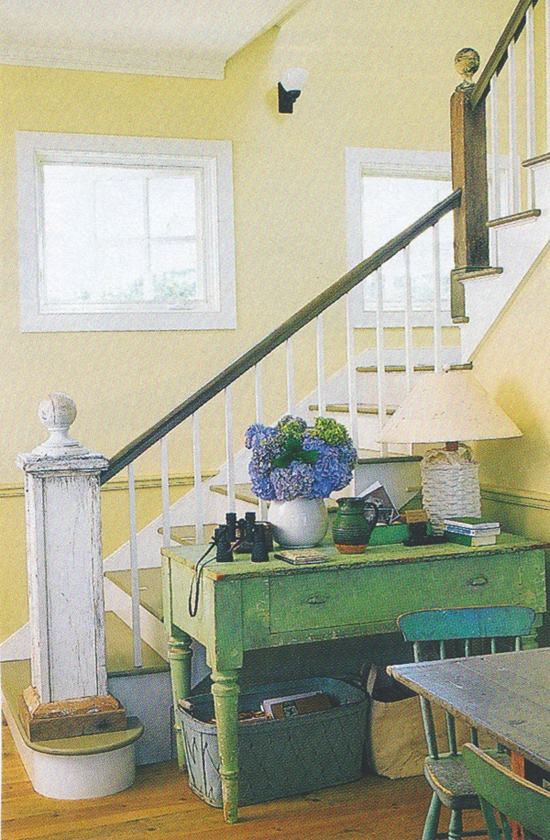 an old table is always handy by the entryway (See more photos of this One Cool House @ Living Vintage)
