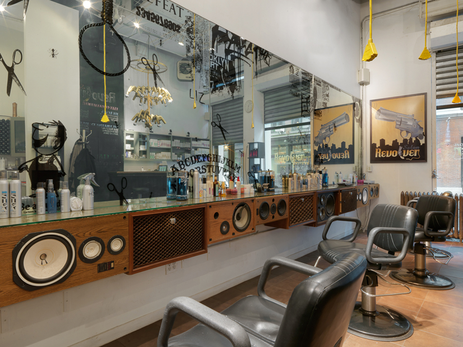 incredibly clever styling stations in a NYC salon and a fantastic way to repurpose old speakers!