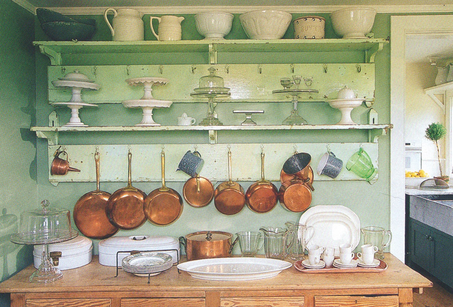 open shelving in my favorite color of green