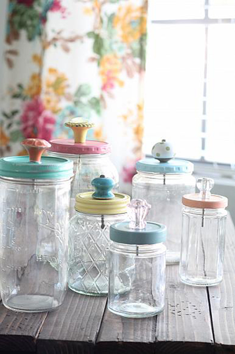 functional and pretty storage made with jars and cabinet knobs -- 1 of 8 picks for this week's Friday Favorites