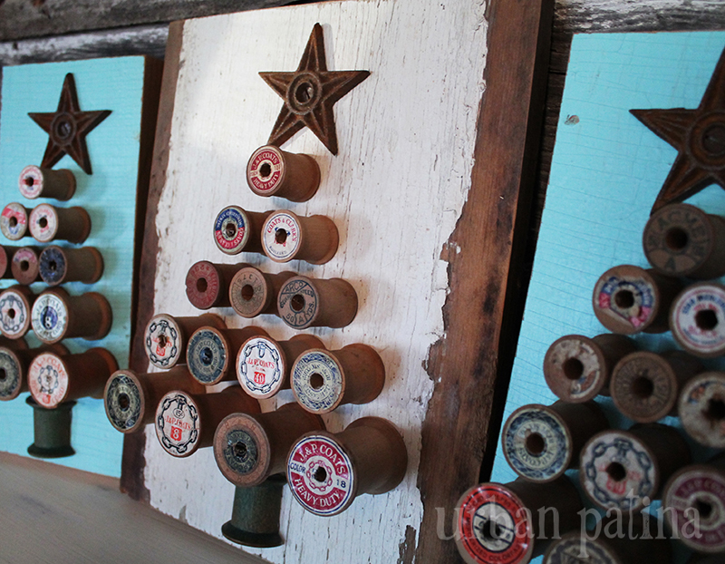 a fabulous and inexpensive way to upcycle wooden spools and decorate for Christmas - one of 8 picks for this week's Friday Favorites