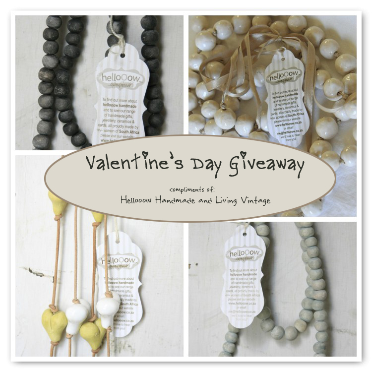 It's a Happy Valentine's Giveaway, from Helloooow Handmade and Living Vintage