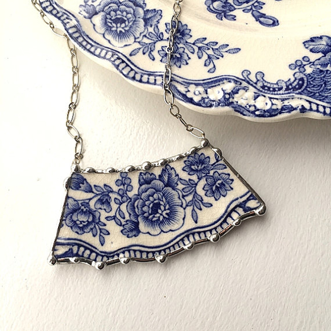 one of Dishfunctional Designs' lovely jewelry pieces made with broken china - one of 8 picks for this week's Friday Favorites