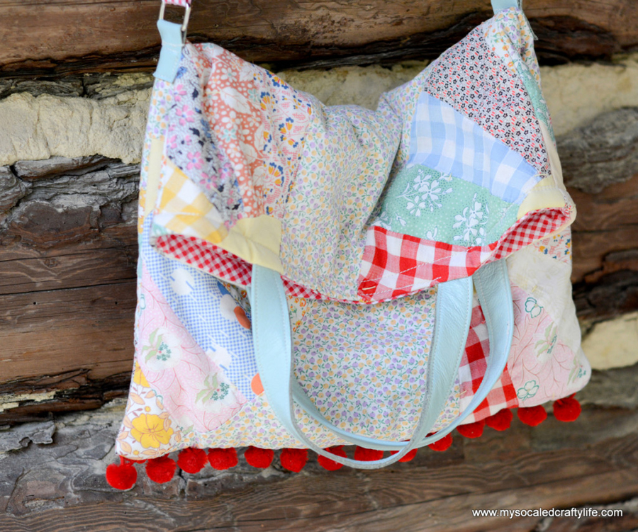 a very cute bag made with an old, shabby quilt (with a tutorial) - one of 8 picks for this week's Friday Favorites