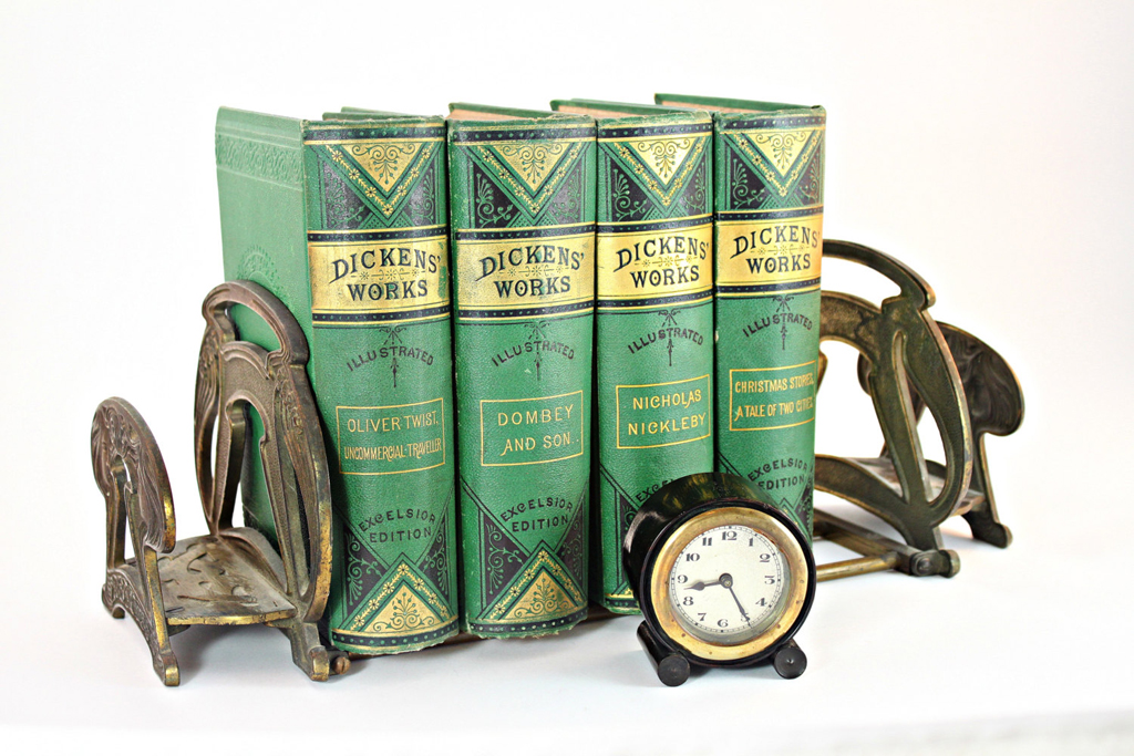 pretty antique books corralled by a nice pair of bookends - one of 8 picks for this week's Friday Favorites
