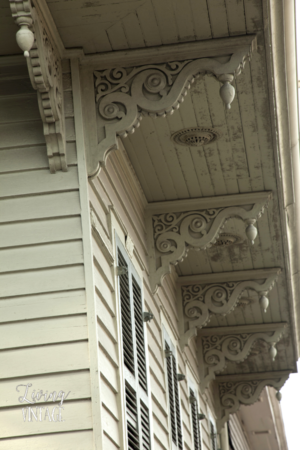 some of the beautiful corbels we spotted in New Orleans - hop over to Living Vintage to see more!