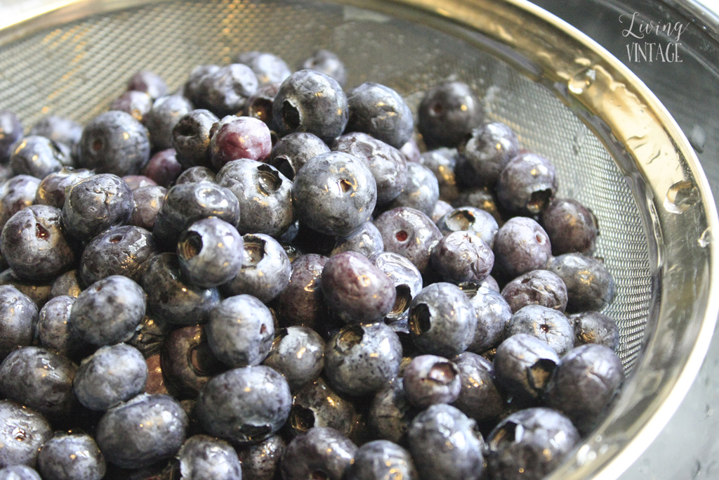 a closeup of cleaned blueberries