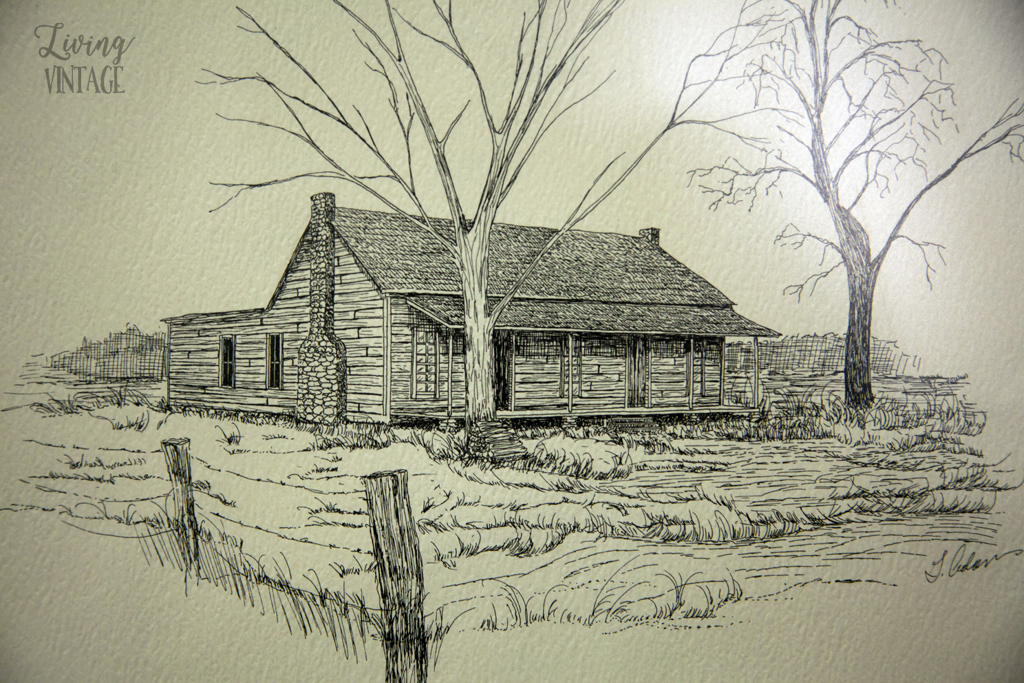 an illustration of an old house in Cherokee County, Texas