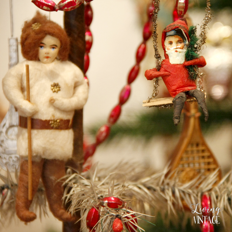 detail of antique Christmas decorations