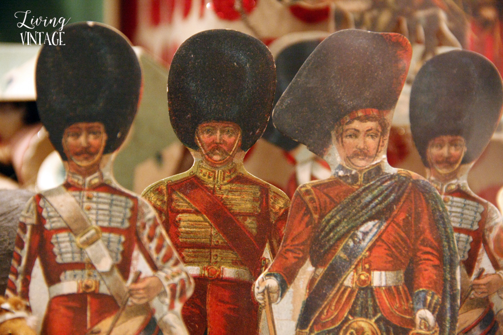 4 paper band members, part of an elaborate Christmas display of antique collectibles