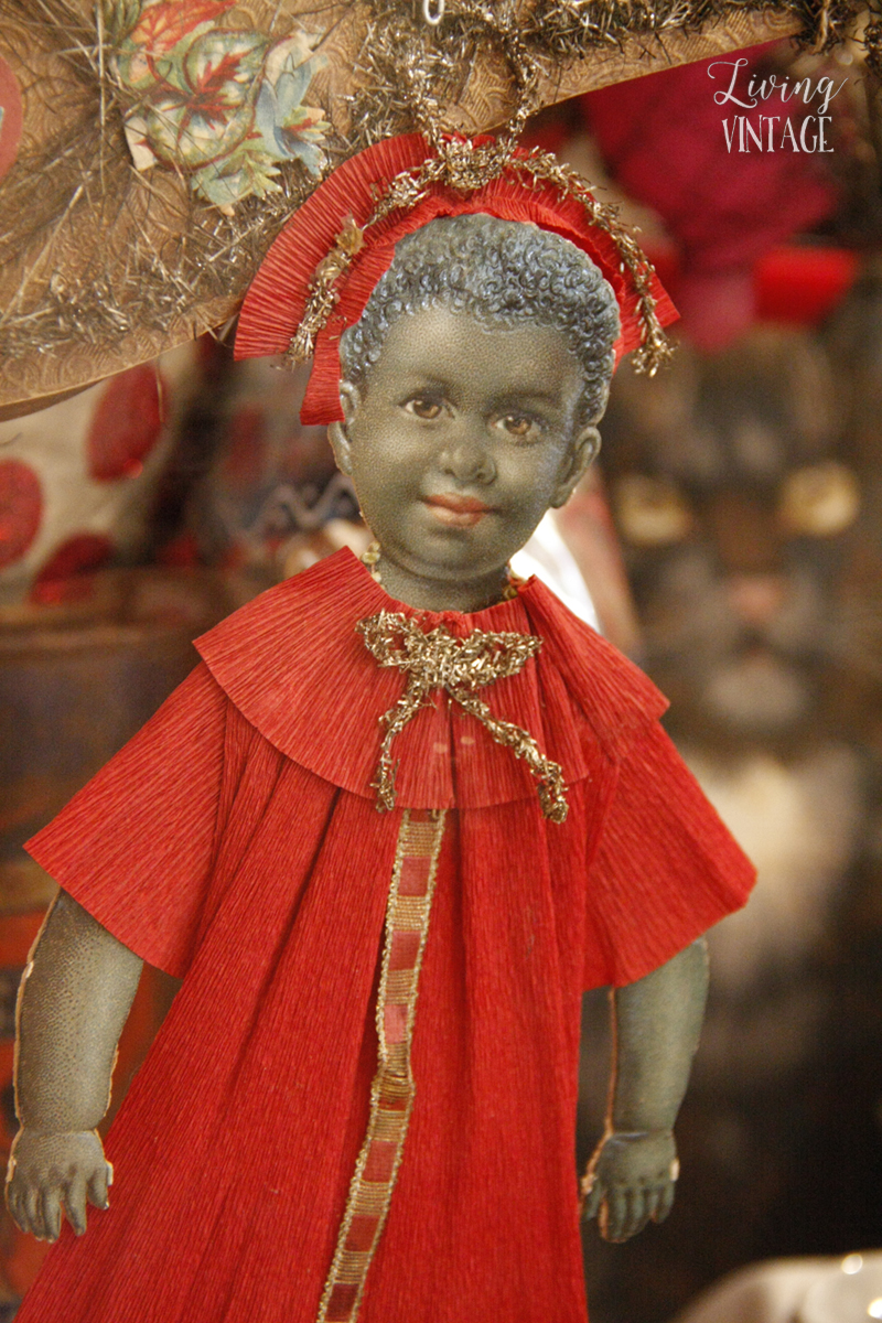 a precious black angel, part of an elaborate Christmas collection