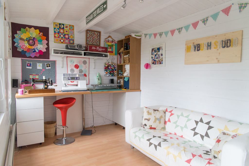 Clare's sweet sewing sanctuary featured within the new 'She Sheds' book
