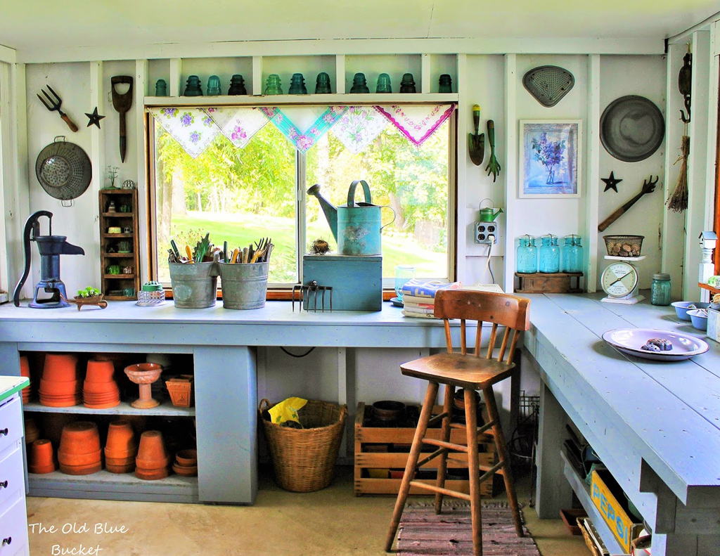 Judy's wonderful work tables recently seen in the pages of the new 'She Sheds' book