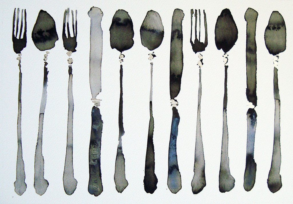 a pretty watercolor of everyday objects -- I love all the variations of grey