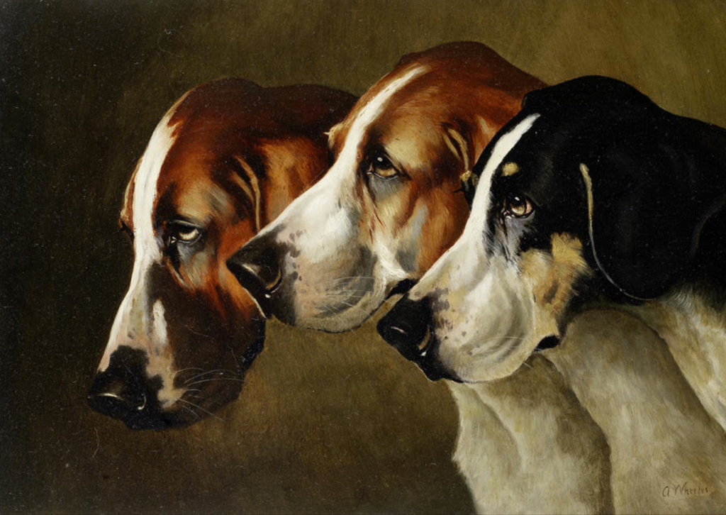 a gorgeous, museum-quality painting of three hounds