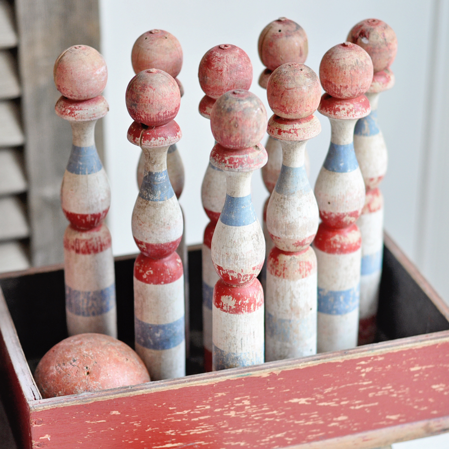 charming antique wooden skittles