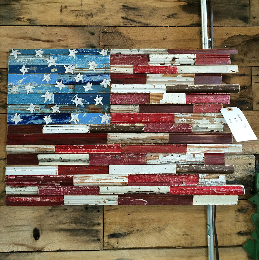 a unique flag, made with old trim