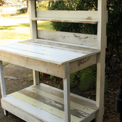 Reclaimed Trim Transformed Into a Potting Bench